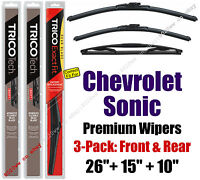 Wipers 3pk Premium Front + Rear 2012+ Chevrolet Chevy Sonic 19260/150/10E