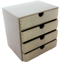 A4 Plain Wooden Cupboard Chest Shelf With Drawers Storage Desktop Unit D44