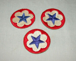 Lot of 3 Original WW11 US Army Military Blue Star Staff  Patches