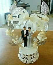 Vintage Wedding Cake TOPPER 1950s Bride Silver gown