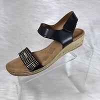 Comfortiva Women's Slingback Wedges Sandals Black Embellished Size 9.5 M