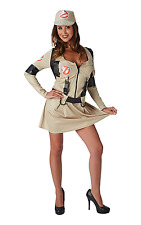 Womens Adult Ghostbuster Fancy Dress Costume + Backpack Size -  Small / 8 -10