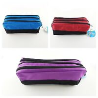 Triple Pocket Zip Rectangular Large Fabric Pencil Case - Ideal For School