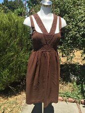 NICOLE MILLER Brown Silk Sun Dress Fully Lined Cocktail Sexy Midriff Sz 10 RARE