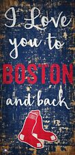 """Boston Red Sox I love you to and Back Wood Sign - NEW 6"""" x 12"""" Wall Decoration"""