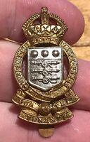 A WW1 / WW2 Kings Crown white metal and brass Royal Ordnance Corps cap badge   J