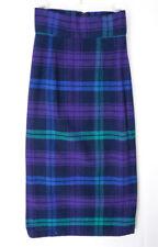 "Vintage 80s Purple Woven Pencil Skirt Xs 25"" High Waist Ankle Woven Plaid Usa"
