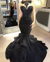 Gothic Black Wedding Dresses Bridal Gowns Sleeveless Backless Mermaid Halter