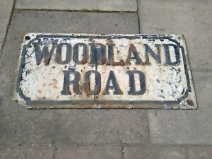 """ Woodland Road "" reclaimed cast iron Street Sign"