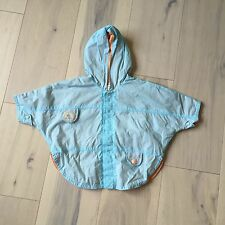 Catimini Baby Rain Jacket 6M Blue & Orange Hooded Lightweight