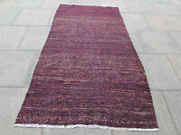 Old Traditional Hand Made Persian Oriental Kilim Rug Wool Cotton Brown 237x125cm