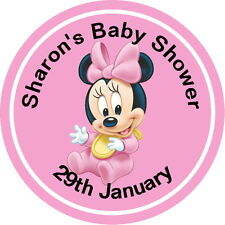 PERSONALISED,DISNEY MINNIE MOUSE, BABY SHOWER,THANK YOU STICKERS, SEALS LABELS