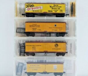 Armour, GN, Erie, Blatz. N Scale Kadee/MTL 40' Wood Sheathed Reefers. Set of 4.