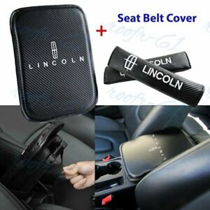 For Lincoln Embroidery Car Center Armrest Cushion Mat Pad w/ Seat Belt Cover Set