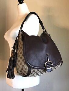 Gucci GG Monogram Handbag Brown Canvas Leather Bamboo Tassel Shoulder Tote Bag