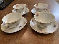 Vintage Noritake Rosalie Cup Saucer Japan China Lot of 4