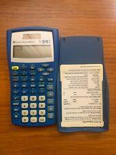 Texas Instruments Ti34Ii Scientific Explorer Blue Solar Calculator