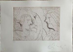 Luca Alinari incisione acquaforte Piccole Coppie Sole 50x35 firmata numerata