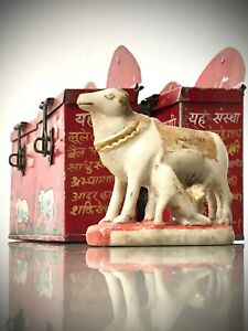 COW TEMPLE DONATION MONEY BOX. ANTIQUE VINTAGE INDIAN TIN IN RED. PIGGY BANK?
