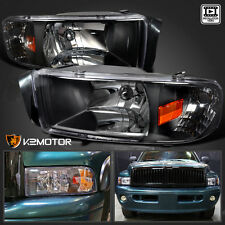 94-01 Dodge Ram 1500 2500 3500 Crystal Black Headlights Pair Left+Right
