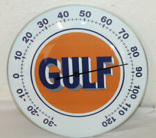 """GULF OIL GAS THERMOMETER 12"""" ROUND GLASS DOME SIGN VINTAGE STYLE MAN CAVE DECOR"""