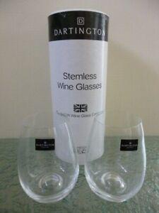 Dartington Set of 2 Stemless Wine Glasses 94967 British Wine Glass Company