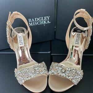 Badgley Mischka Libby Peep Toe Crystal Evening/Wedding Shoes Size 3.5(UK) Nude