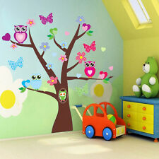 Owls Flower Tree Butterfly Wall Sticker Mural Vinyl Decals Kid Nursery Decor Luz