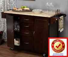 Kitchen Island Table - Rolling Cart Storage Cabinet Wood Top MS Charity Cookbook