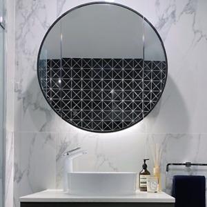 MIRAGE Round Mirror Shaving Cabinet Black 800mm