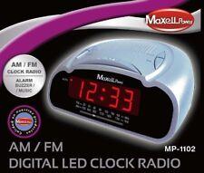 RELOJ DESPERTADOR Musica o Alarma Noche MAXELL MP-1102 RADIO FM AM plata o negro