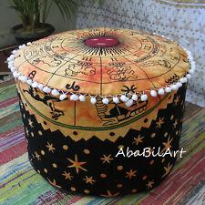 "22"" Zodiac Orange Ottoman Pouf Cover Cotton Mandala Foot Stool Pouf Covers Throw"