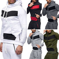 Men's Long Sleeve Color Block Pleated Hoodie Casual Sports Sweatshirt Pullover