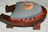 Vintage Embroidered Horse Boot Jack Puller Scraper Stool Wood Wooden Antique