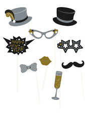 10 Happy New Year Fun Novelty Photo Booth Selfie Props Kit