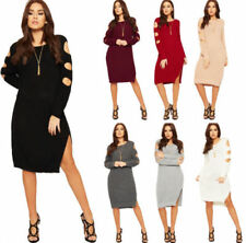 Long Sleeve Jumper Dresses for Women with Cold Shoulder