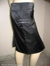 NWT ITALIAN DESIGNER BLACK SKIRT SATIN LOW RISE ZIPPERED NEW L 10 MADE IN ITALY