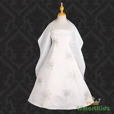 50% OFF SALE Ryhinestones Satin Dress + Shawl Wedding Flower Girl White 11 #026S