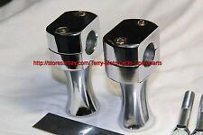 Motorcycle Handle Bar Riser 7/8in dia Straight 3in up V2 Chromed Steel Pair new