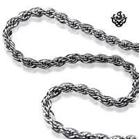 Silver necklace solid stainless steel twisted chain 610mm or 710mm