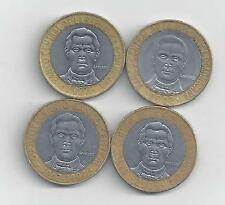 4 BI-METAL 5 PESO COINS from the DOMINICAN REPUBLIC (1997, 2002, 2005 & 2007)