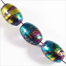 Lot de 20 perles Ovales en verre Décorées 10 x 14mm Améthyste