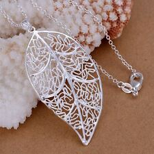*UK* 925 SILVER PLT HOLLOW FILIGREE LEAF PENDANT NECKLACE LEAVES AUTUMN OPEN BAE