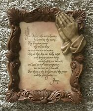"Home Interior Homco""Vintage The Lord's Prayer""Picture"" Frame w/Praying Hands"""