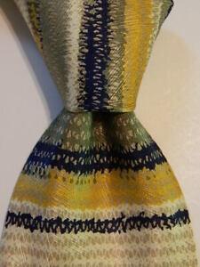 MISSONI Men's 100% Silk Necktie ITALY Designer STRIPED Green/Ivory/Blue GUC