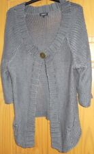 Grey Cardigan with One Central Button Size 18 Euro 46 Plus Size