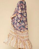 New Gigio By Umgee Maxi Duster Kimono M Medium Blush Pink Floral Boho Peasant