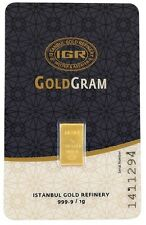1 gram gold bar 24 karat Istanbul gold Refinery ,9999 Fine pure gold