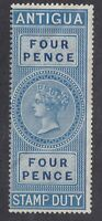 Antigua QV - Revenue Stamp Duty 4d Blue - Mint Hinged Creased (E27A)