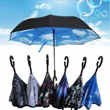Reverse Umbrella Rain Long C-Handle New Unisex Double Layer Upside Down Opening